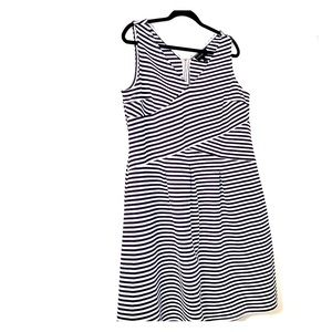 Navy and white striped sleeveless dress 20